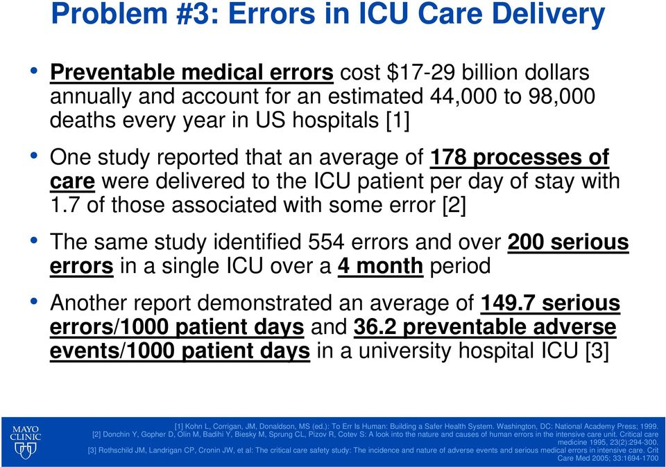 7 of those associated with some error [2] The same study identified 554 errors and over 200 serious errors in a single ICU over a 4 month period Another report demonstrated an average of 149.