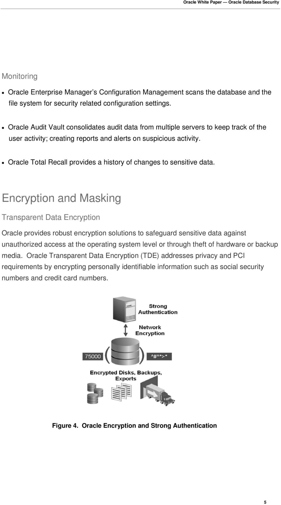 Oracle Total Recall provides a history of changes to sensitive data.