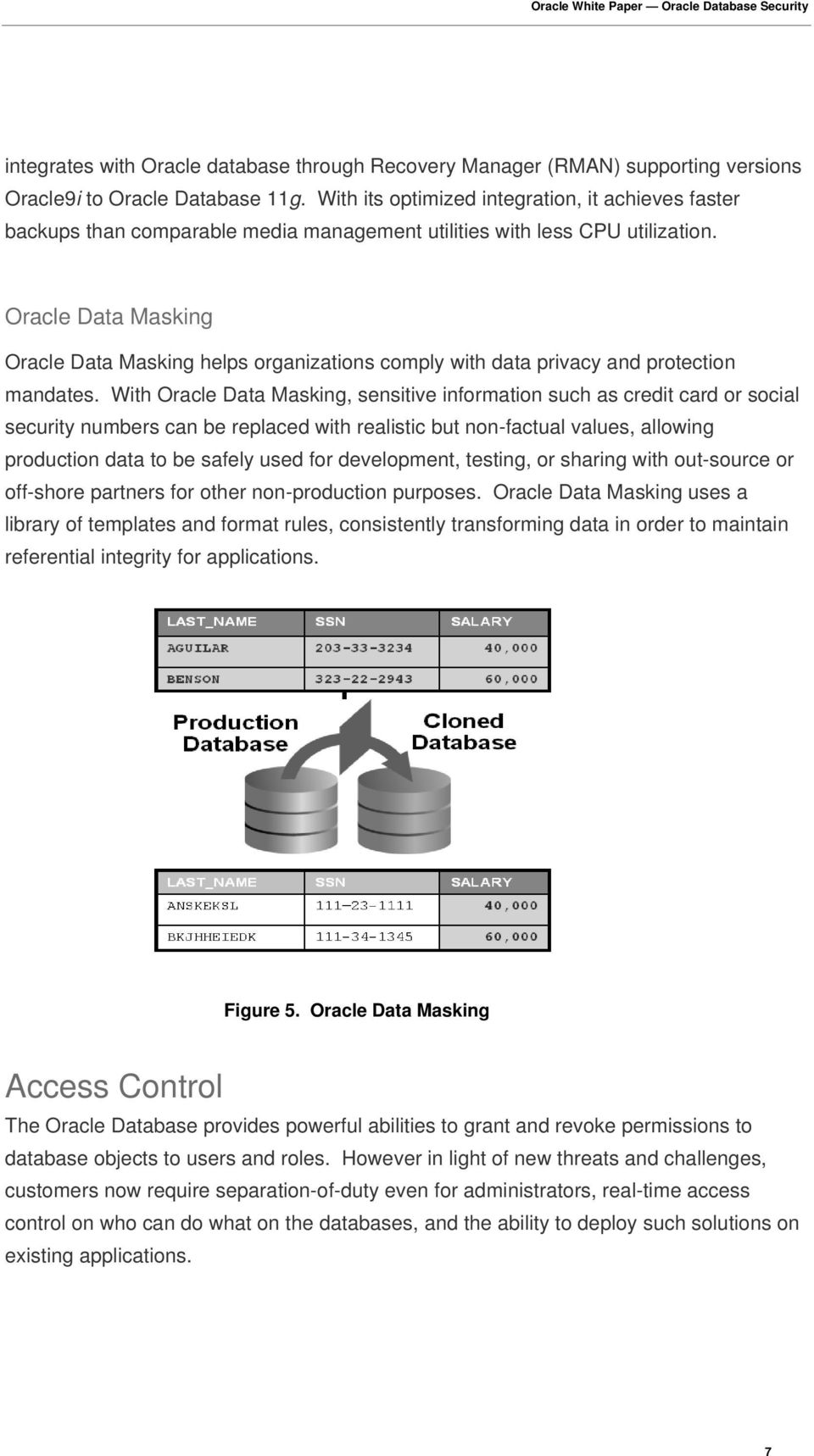Oracle Data Masking Oracle Data Masking helps organizations comply with data privacy and protection mandates.