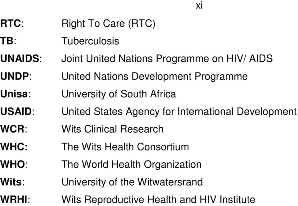 Africa United States Agency for International Development Wits Clinical Research The Wits Health