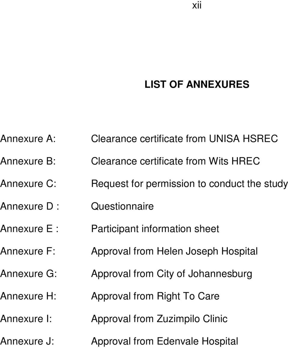 permission to conduct the study Questionnaire Participant information sheet Approval from Helen Joseph Hospital