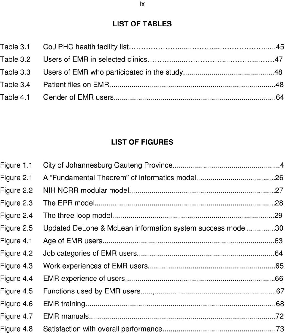 5 Figure 4.6 Figure 4.7 Figure 4.8 City of Johannesburg Gauteng Province...4 A Fundamental Theorem of informatics model...26 NIH NCRR modular model...27 The EPR model...28 The three loop model.