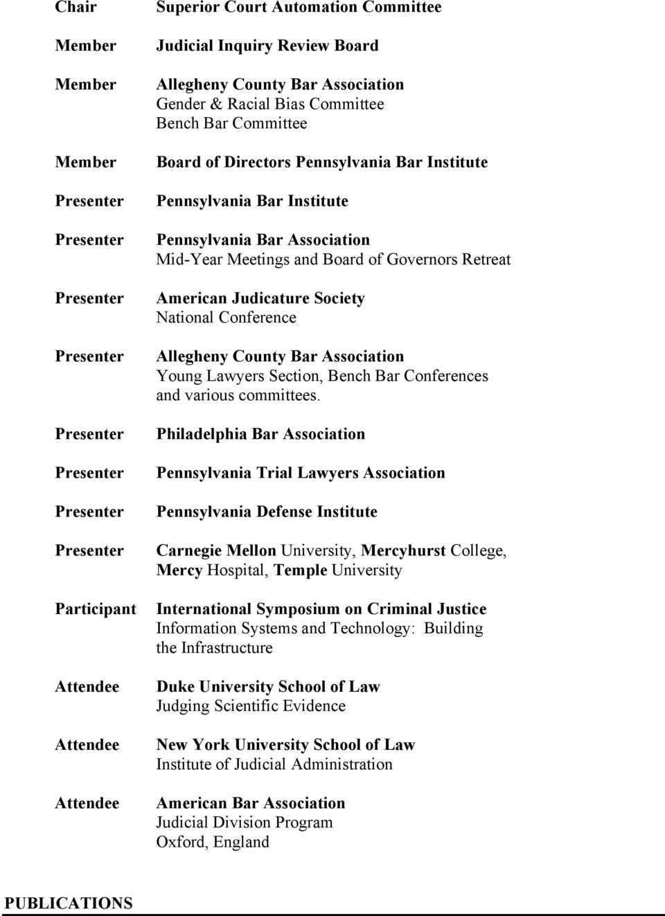 County Bar Association Young Lawyers Section, Bench Bar Conferences and various committees.