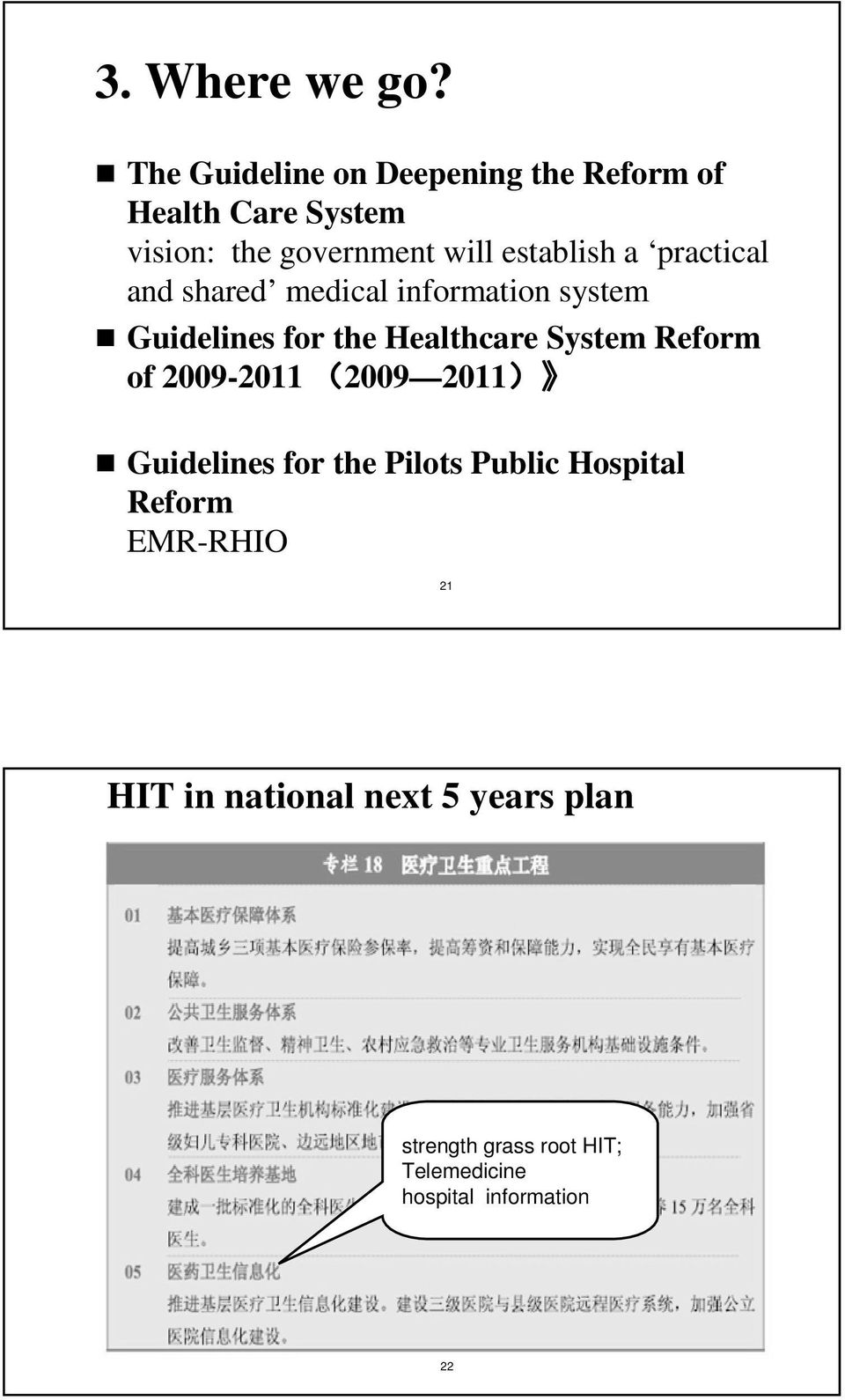 a practical and shared medical information system Guidelines for the Healthcare System Reform of