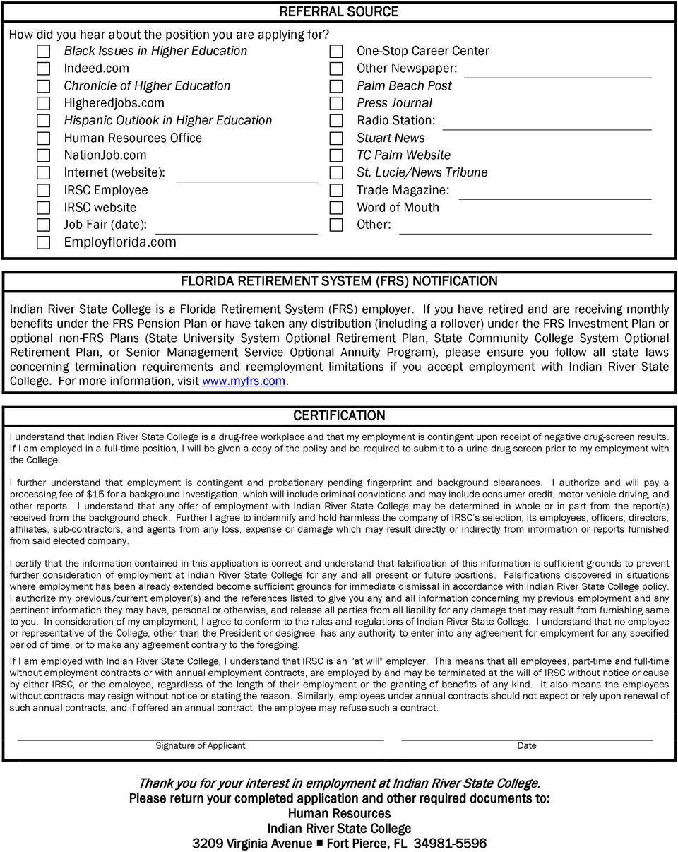 application for employment indian river state college pdf