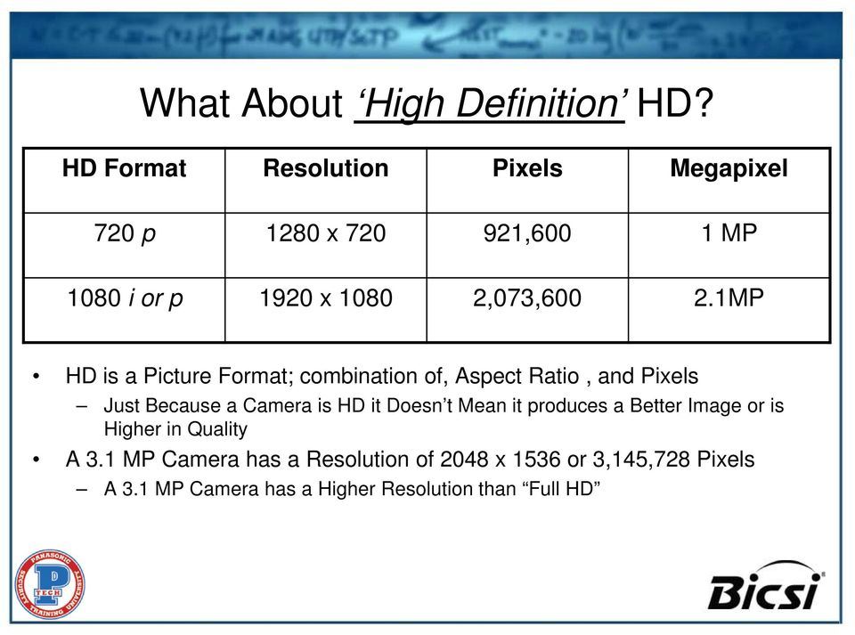 1MP HD is a Picture Format; combination of, Aspect Ratio, and Pixels Just Because a Camera is HD it