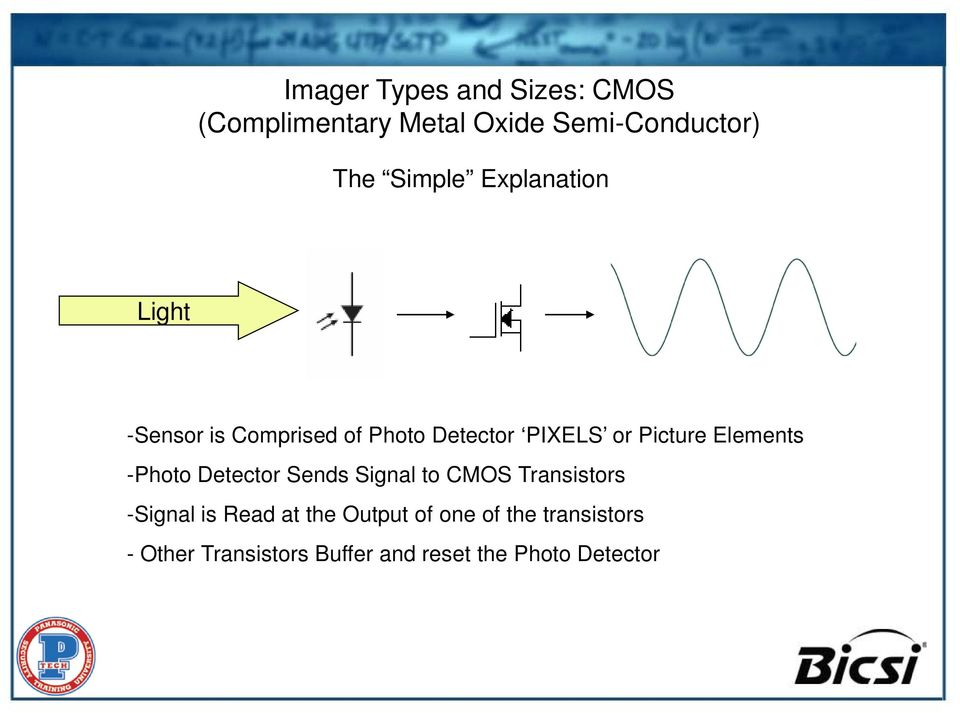 Elements -Photo Detector Sends Signal to CMOS Transistors -Signal is Read at the