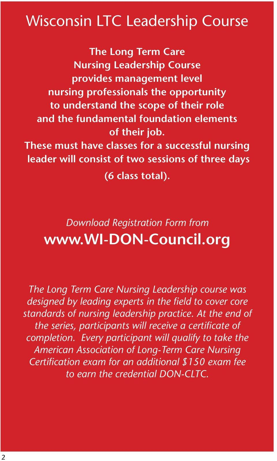 Long Term Care Nursing Leadership Course Pdf