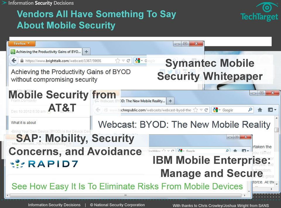 Security Concerns, and Avoidance IBM Mobile Enterprise: Manage and