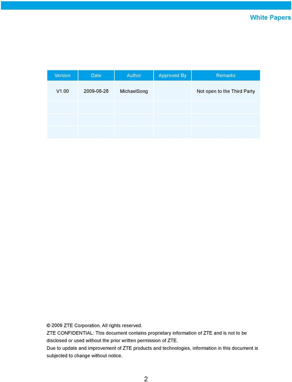ZTE CONFIDENTIAL: This document contains proprietary information of ZTE and is not to be disclosed or
