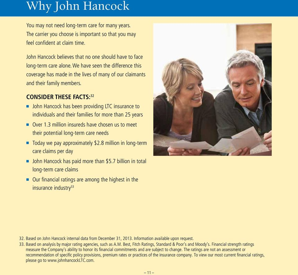 CONSIDER THESE FACTS: 32 n John Hancock has been providing LTC insurance to individuals and their families for more than 25 years n n n n Over 1.