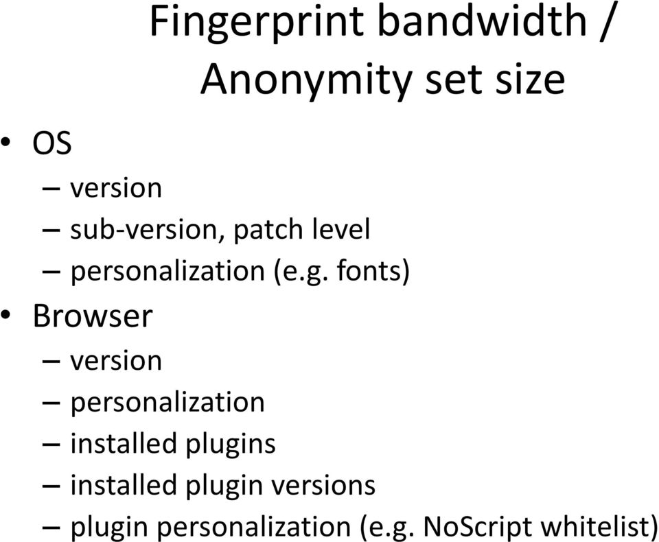 fonts) Browser version personalization installed plugins