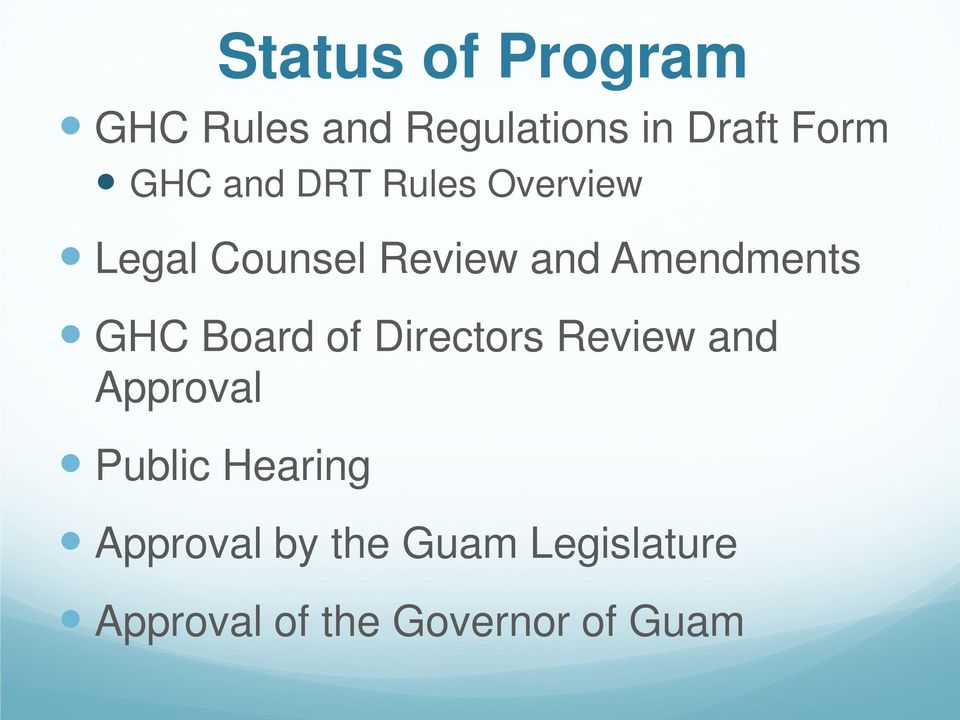 Amendments GHC Board of Directors Review and Approval Public