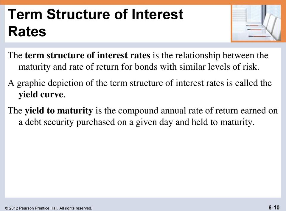 A graphic depiction of the term structure of interest rates is called the yield curve.