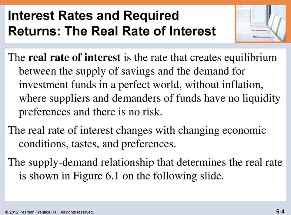 liquidity preferences and there is no risk. The real rate of interest changes with changing economic conditions, tastes, and preferences.