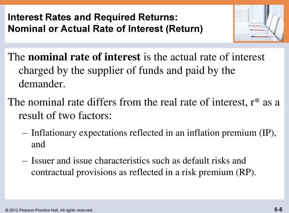 The nominal rate differs from the real rate of interest, r* as a result of two factors: Inflationary expectations reflected in an