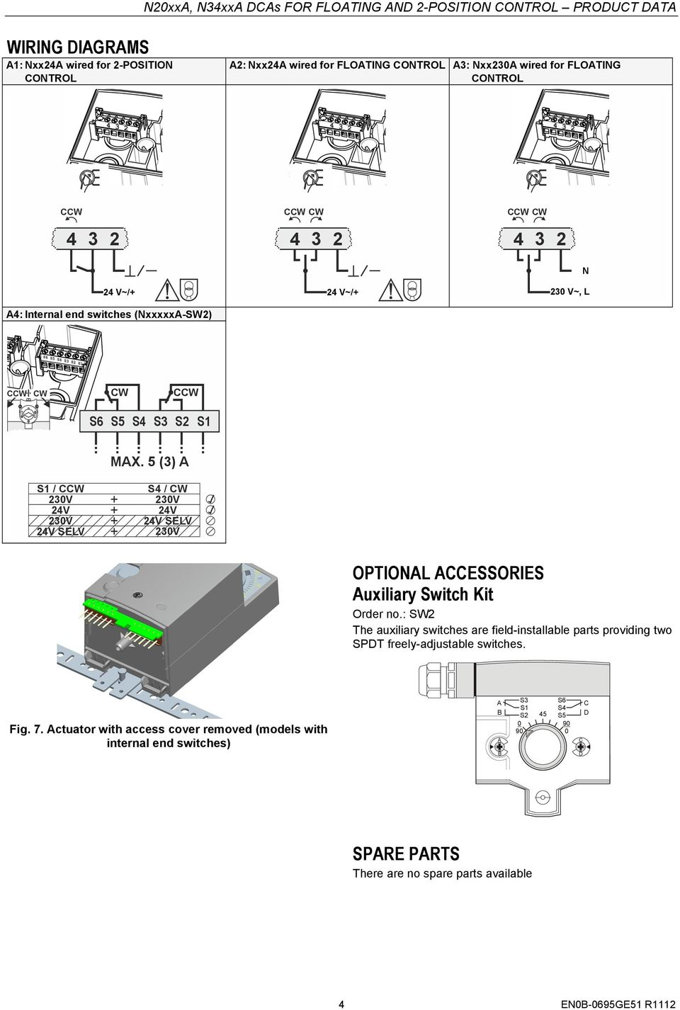 5 (3) A S1 / 23V 24V 23V 24V SELV S4 / CW 23V 24V 24V SELV 23V OPTIONAL ACCESSORIES Auxiliary Switch Kit Order no.