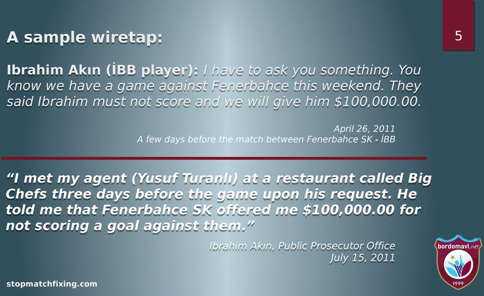 000.00. April 26, 2011 A few days before the match between Fenerbahce SK - İBB I met my agent (Yusuf Turanlı) at a restaurant