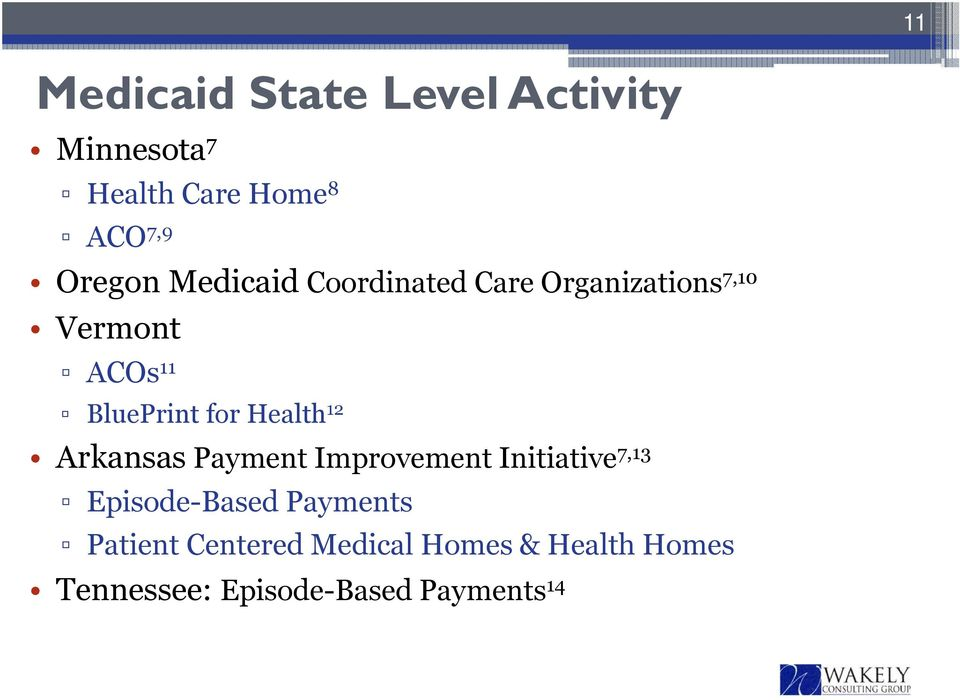 Health 12 Arkansas Payment Improvement Initiative 7,13 Episode-Based Payments