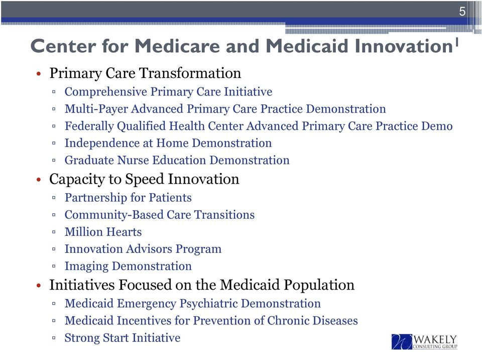 Capacity to Speed Innovation Partnership for Patients Community-Based Care Transitions Million Hearts Innovation Advisors Program Imaging Demonstration