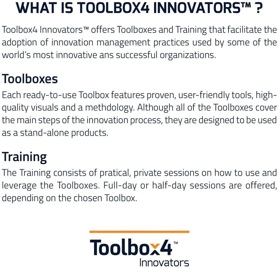 ans successful organizations. Toolboxes Each ready-to-use Toolbox features proven, user-friendly tools, highquality visuals and a methdology.
