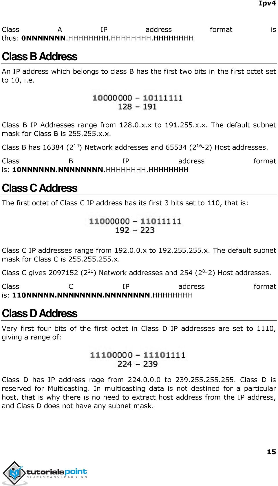 NNNNNNNN.HHHHHHHH.HHHHHHHH Class C Address The first octet of Class C IP address has its first 3 bits set to 110, that is: Class C IP addresses range from 192.0.0.x