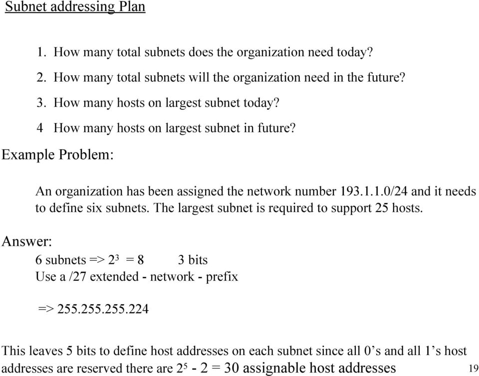3.1.1.0/24 and it needs to define six subnets. The largest subnet is required to support 25 hosts.