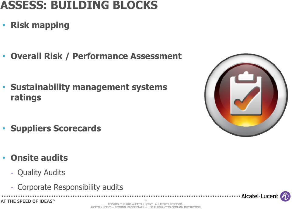 systems ratings Suppliers Scorecards Onsite audits
