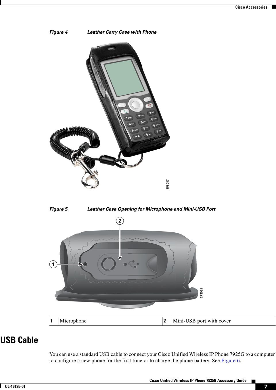 can use a standard USB cable to connect your Cisco Unified Wireless IP Phone 7925G to a