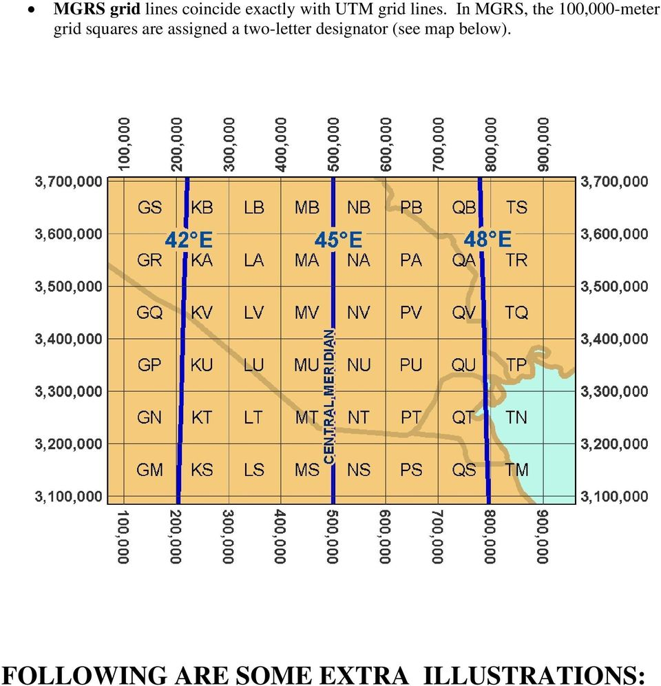 In MGRS, the 100,000-meter grid squares are