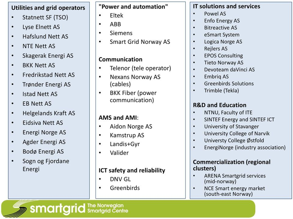 Nexans Norway AS (cables) BKK Fiber (power communication) AMS and AMI: Aidon Norge AS Kamstrup AS Landis+Gyr Valider ICT safety and reliability DNV GL Greenbirds IT solutions and services Powel AS