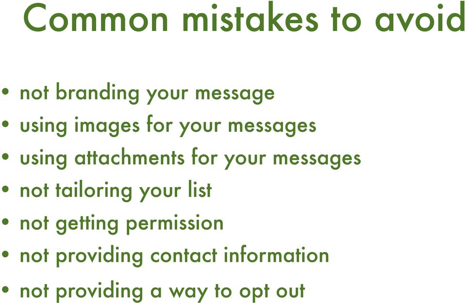 messages not tailoring your list not getting permission