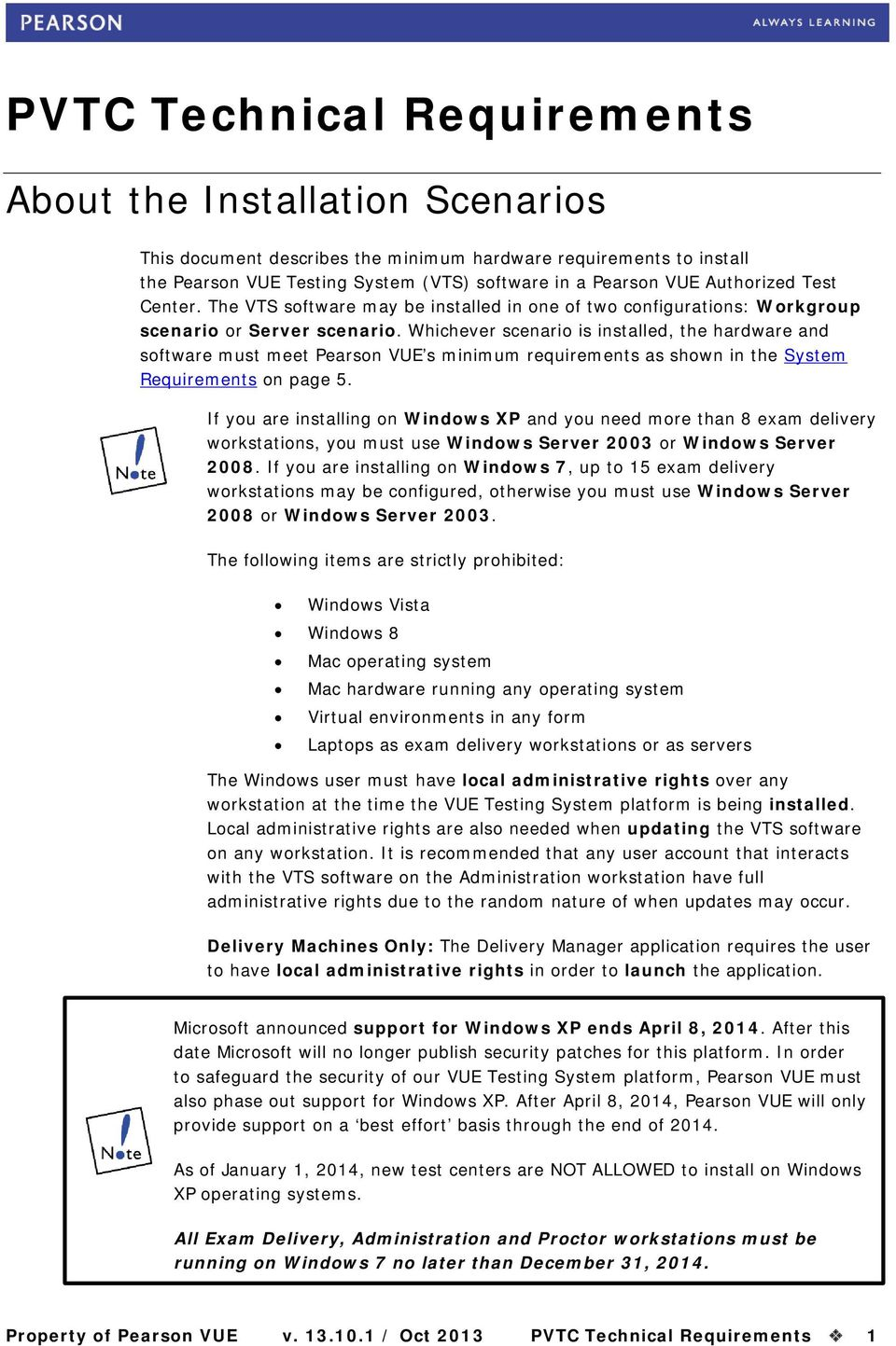 Whichever scenario is installed, the hardware and software must meet Pearson VUE s minimum requirements as shown in the Requirements on page 5.