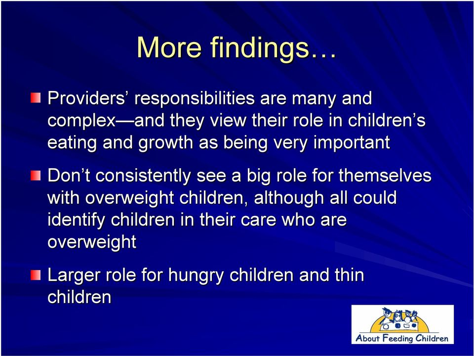 see a big role for themselves with overweight children, although all could identify