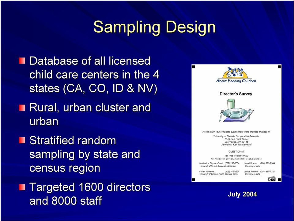 cluster and urban Stratified random sampling by state