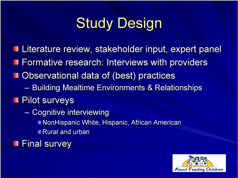 Building Mealtime Environments & Relationships Pilot surveys Cognitive