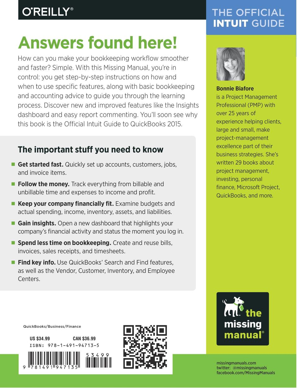 THE OFFICIAL INTUIT GUIDE  QuickBooks Bonnie Biafore  Covers