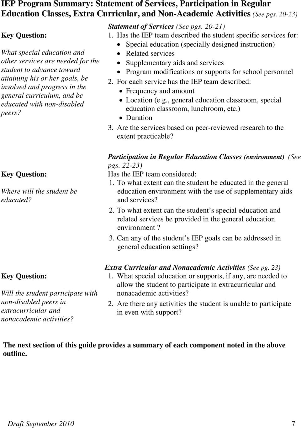 educated with non-disabled peers? Statement of Services (See pgs. 20-21) 1.