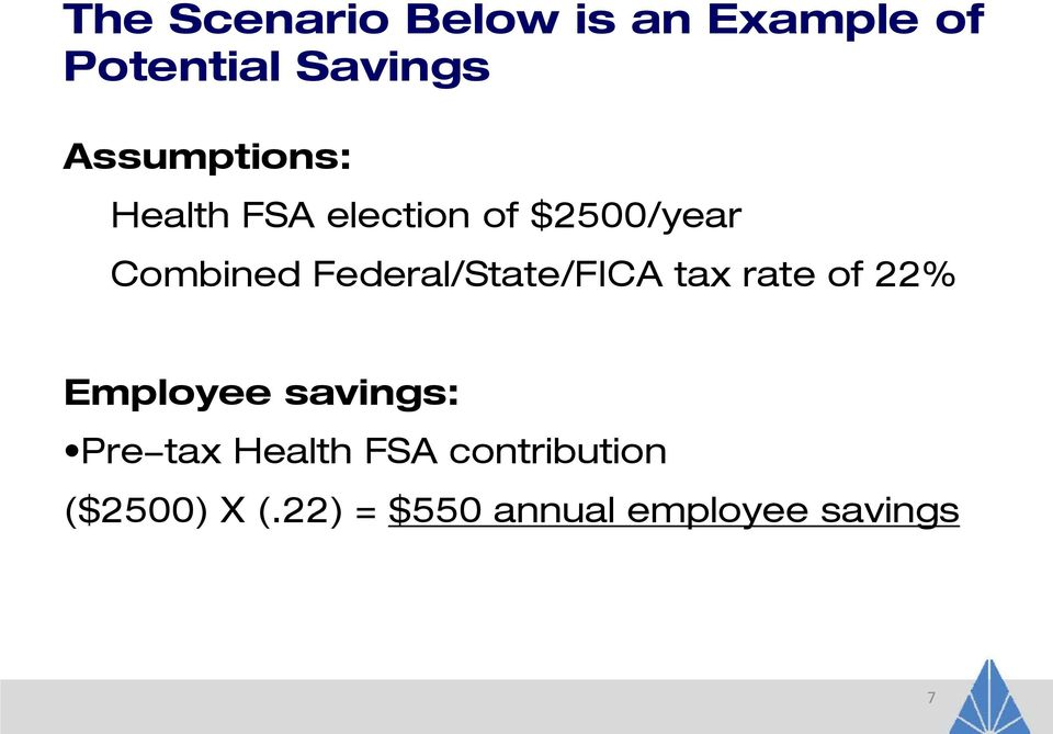 Federal/State/FICA tax rate of 22% Employee savings: Pre-tax