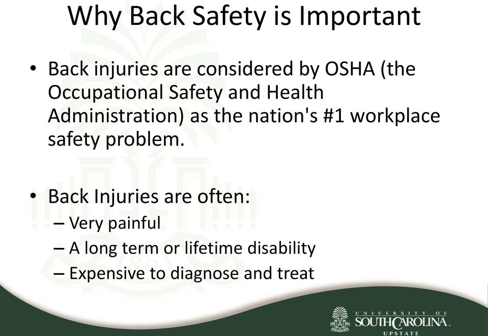 nation's #1 workplace safety problem.