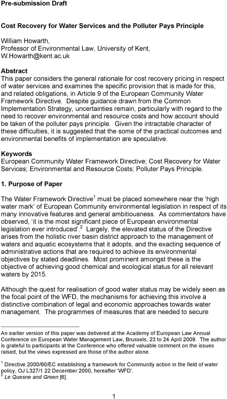 Article 9 of the European Community Water Framework Directive.