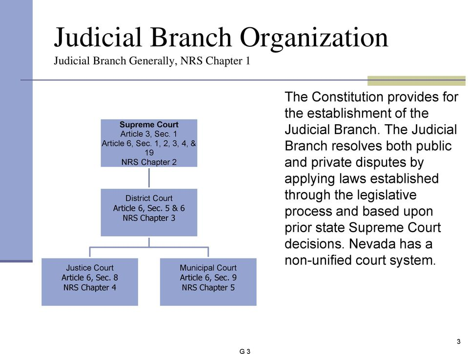 9 NRS Chapter 5 The Constitution provides for the establishment of the Judicial Branch.
