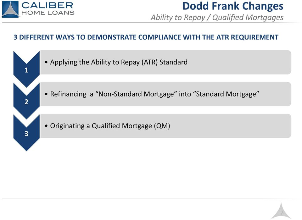 Ability to Repay (ATR) Standard 2 Refinancing a Non-Standard