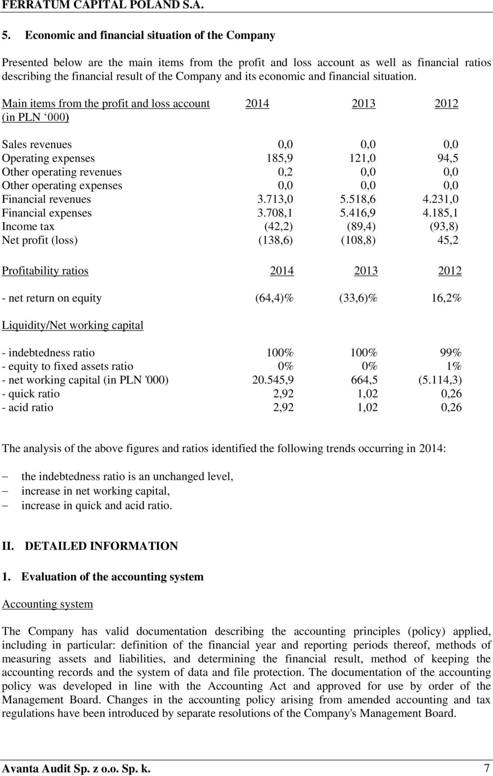 Main items from the profit and loss account (in PLN 000) 2014 2013 2012 Sales revenues 0,0 0,0 0,0 Operating expenses 185,9 121,0 94,5 Other operating revenues 0,2 0,0 0,0 Other operating expenses