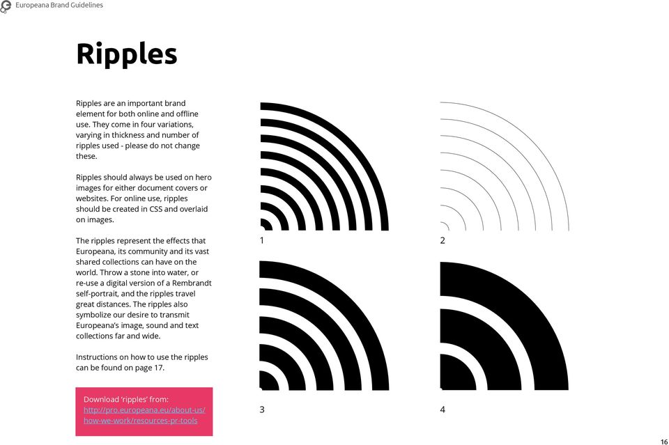 The ripples represent the effects that Europeana, its community and its vast shared collections can have on the world.