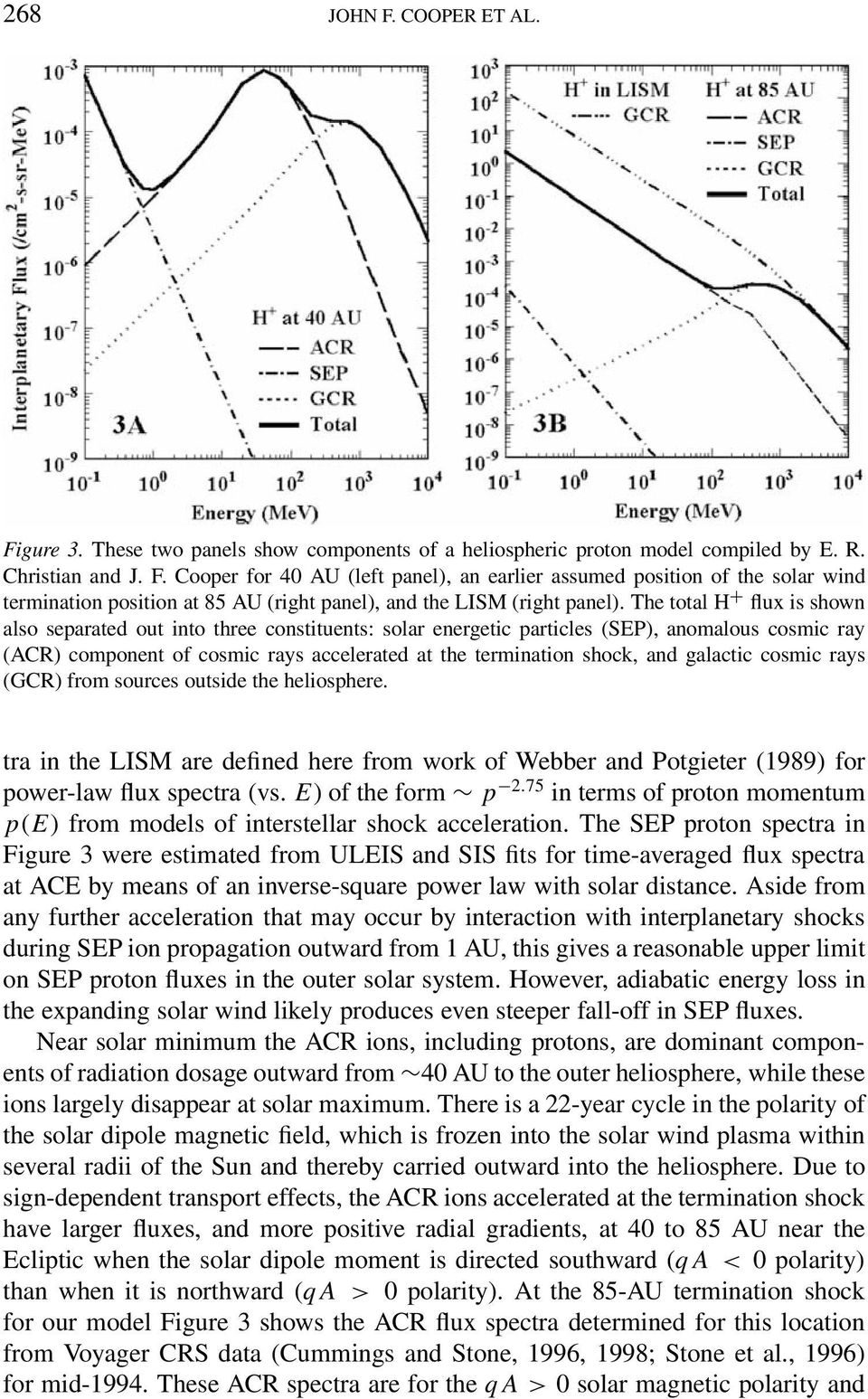 galactic cosmic rays (GCR) from sources outside the heliosphere. tra in the LISM are defined here from work of Webber and Potgieter (1989) for power-law flux spectra (vs. E) of the form p 2.