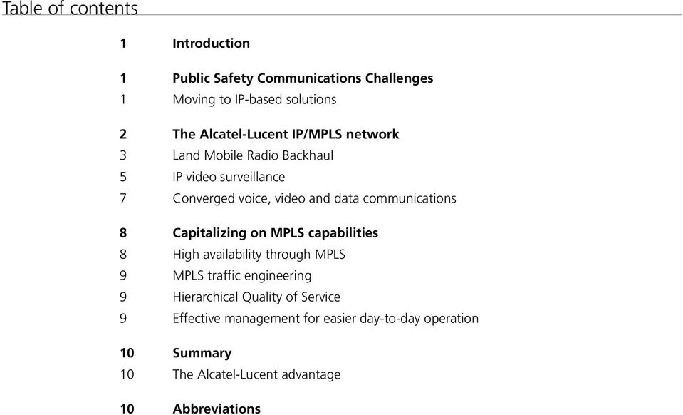 communications 8 Capitalizing on MPLS capabilities 8 High availability through MPLS 9 MPLS traffic engineering 9