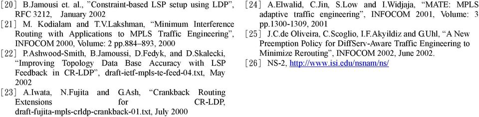Skalecki, Improving Topology Data Base Accuracy with LSP Feedback in CR-LDP, draft-ietf-mpls-te-feed-4.txt, May 22 [23] A.Iwata, N.Fujita and G.