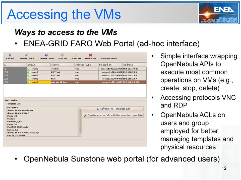 OpenNebula APIs to execute most common operations on VMs (e.g.
