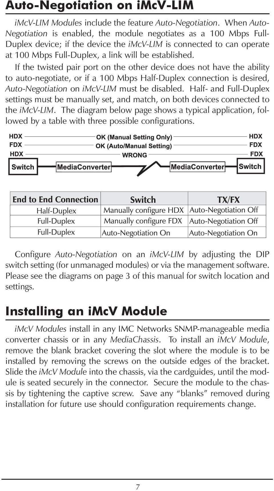 If the twisted pair port on the other device does not have the ability to auto-negotiate, or if a 100 Mbps Half-Duplex connection is desired, Auto-Negotiation on imcv-lim must be disabled.